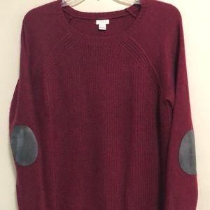 J.Crew Sweater Elbow Patch Crew Neck S Wool Blend